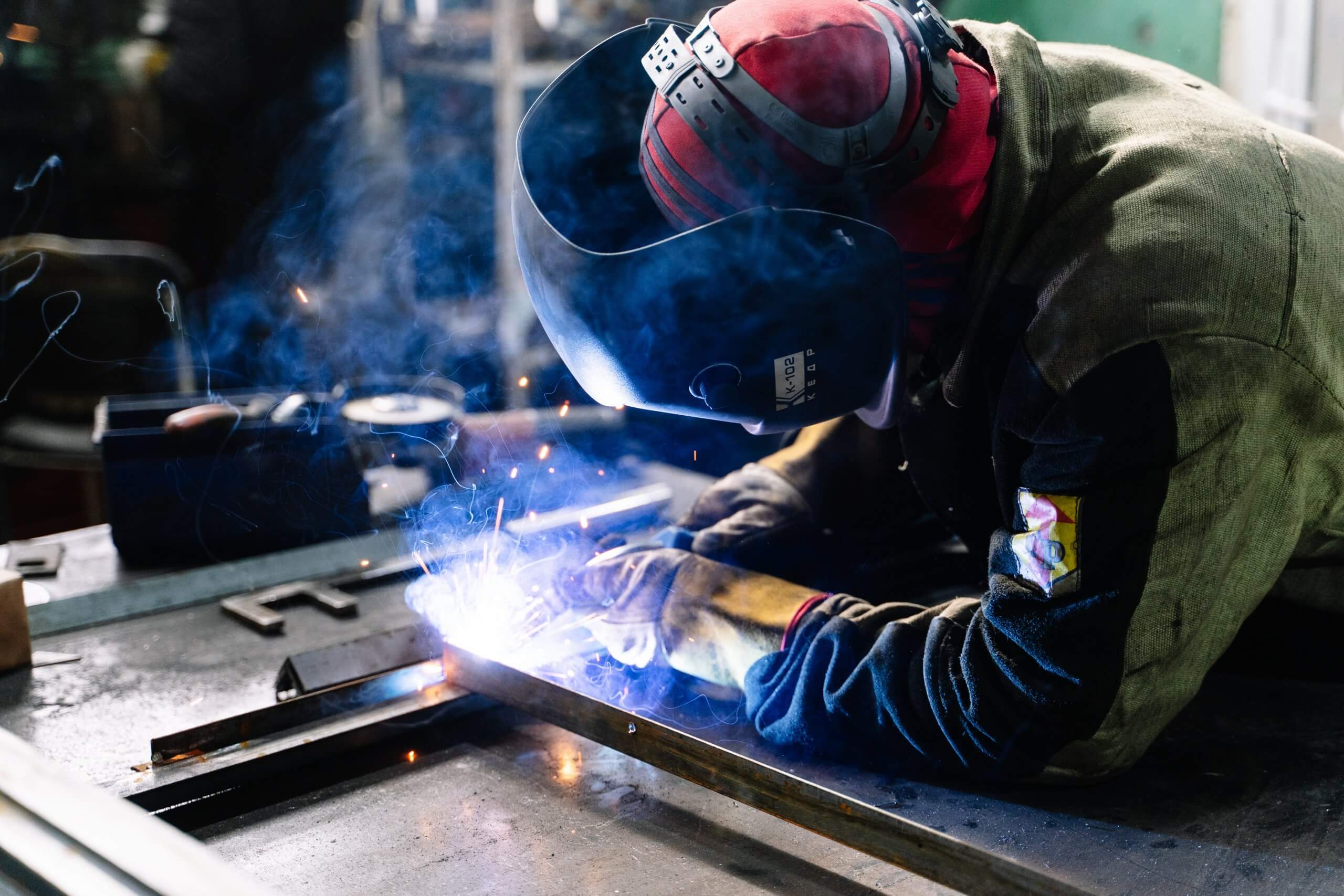 Man welding at workplace